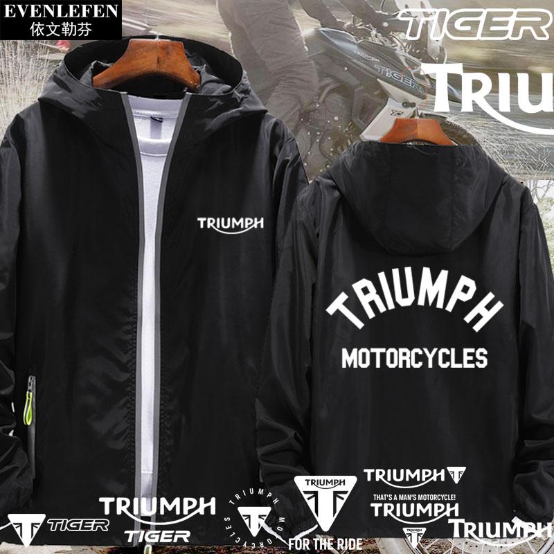 机车夹克 凯旋摩托车Triumph老虎Tiger重机车可定制连帽外套男女夹克上衣服_推荐淘宝好看的男机车夹克