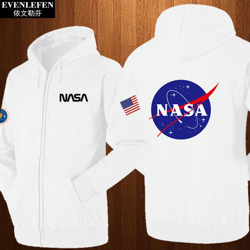 加绒卫衣 美国国家航空航天局NASA连帽开衫卫衣服男女火星救援外套加绒拉链_推荐淘宝好看的女加绒卫衣
