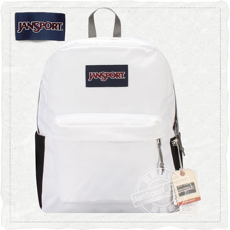 白色双肩包 JanSport杰斯伯双肩包官方新品学院书包男女同款背包4QUT WHX白色_推荐淘宝好看的白色双肩包