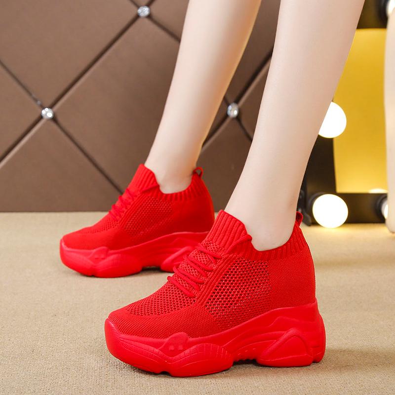 红色坡跟鞋 红色运动鞋女内增高休闲女鞋坡跟2019夏季新款透气网面飞织老爹鞋_推荐淘宝好看的红色坡跟鞋