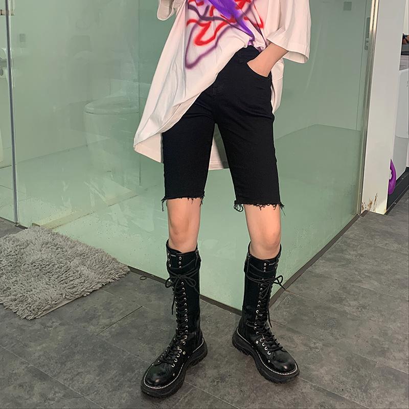 牛仔短裤 UN 黑色牛仔五分裤女夏2020新款春装高腰短裤骑行裤显瘦中裤_推荐淘宝好看的女牛仔短裤