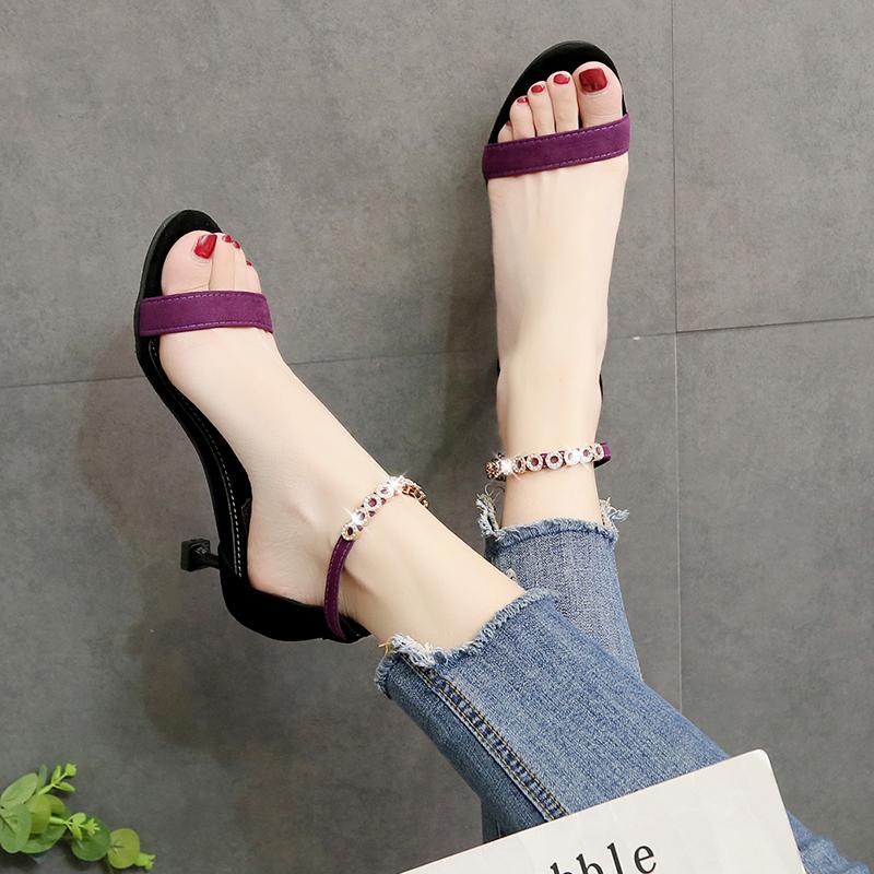 紫色凉鞋 凉鞋女夏2020新款水钻一字带猫跟时装鞋子细跟中跟高跟鞋小跟紫色_推荐淘宝好看的紫色凉鞋