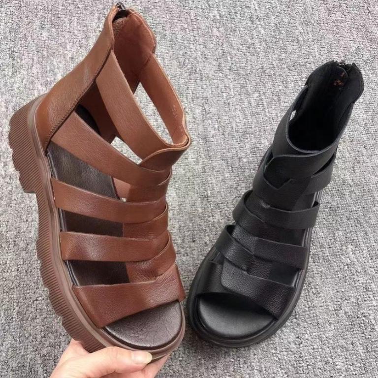 真皮罗马鞋 真皮高帮罗马凉鞋2021年新款女夏平底中跟中筒厚底镂空鱼嘴凉靴子_推荐淘宝好看的真皮罗马鞋
