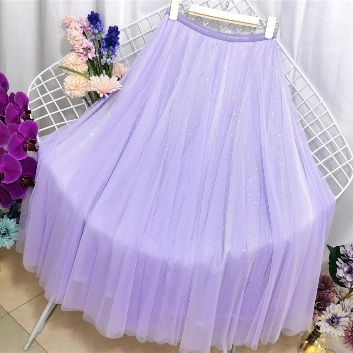 紫色半身裙 紫色半身裙仙气女甜美a字高腰香芋紫网纱亮片长裙显瘦垂感纱裙_推荐淘宝好看的紫色半身裙