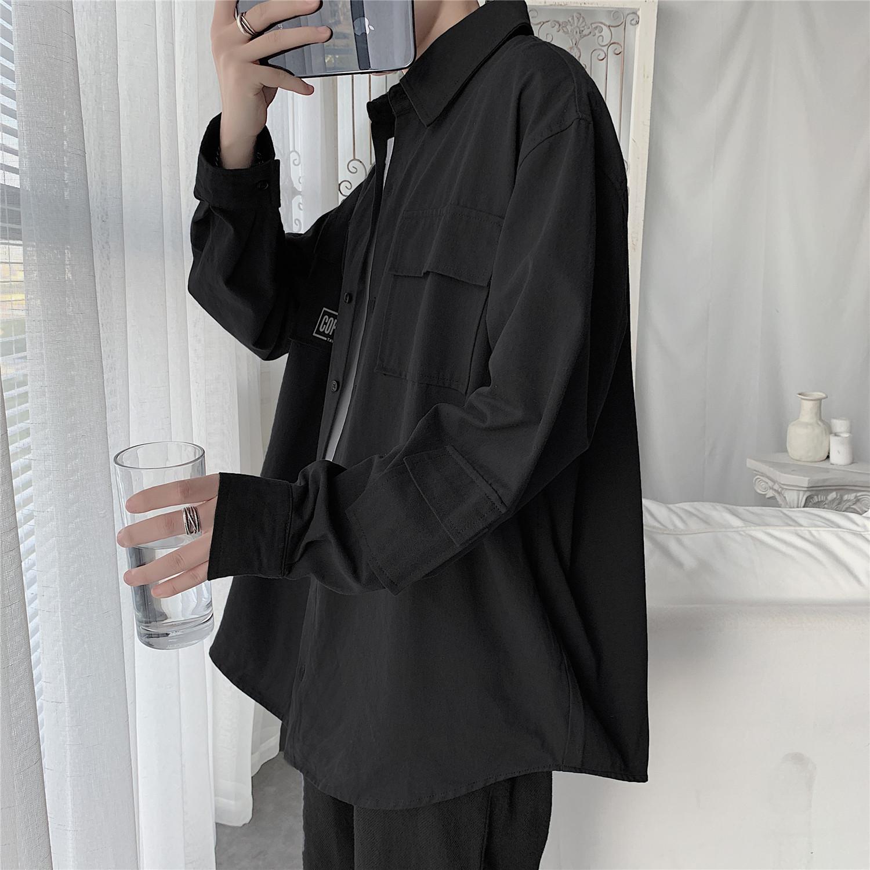 黑色衬衫 黑色衬衫男长袖港风日系韩版潮流帅气内搭春夏季工装衬衣宽松外套_推荐淘宝好看的黑色衬衫