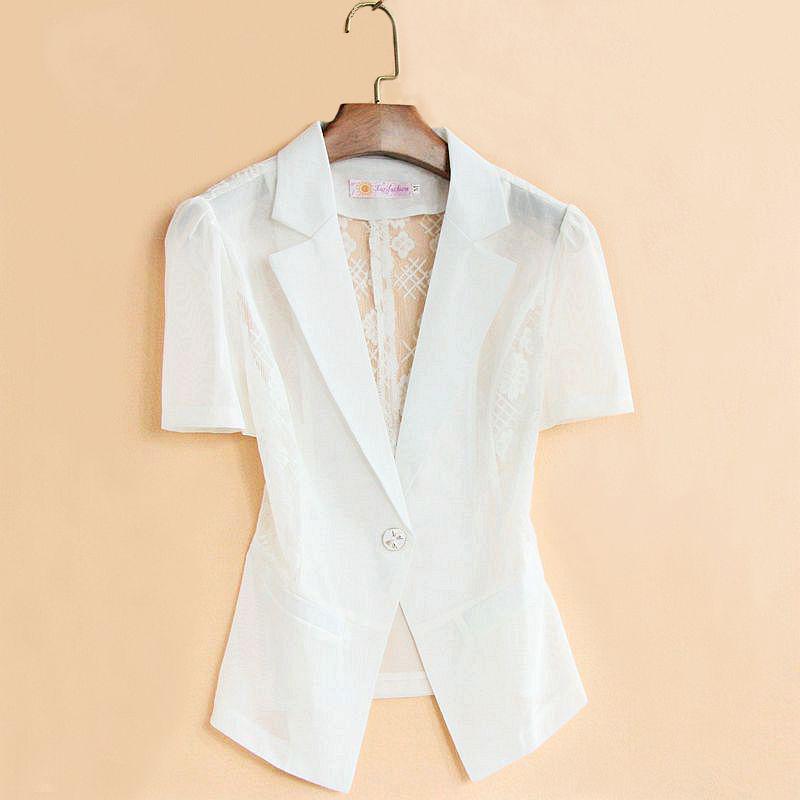 白色小西装 白色短袖西装女外套修身薄款夏季短款韩版蕾丝网纱西服小披肩外搭_推荐淘宝好看的白色小西装