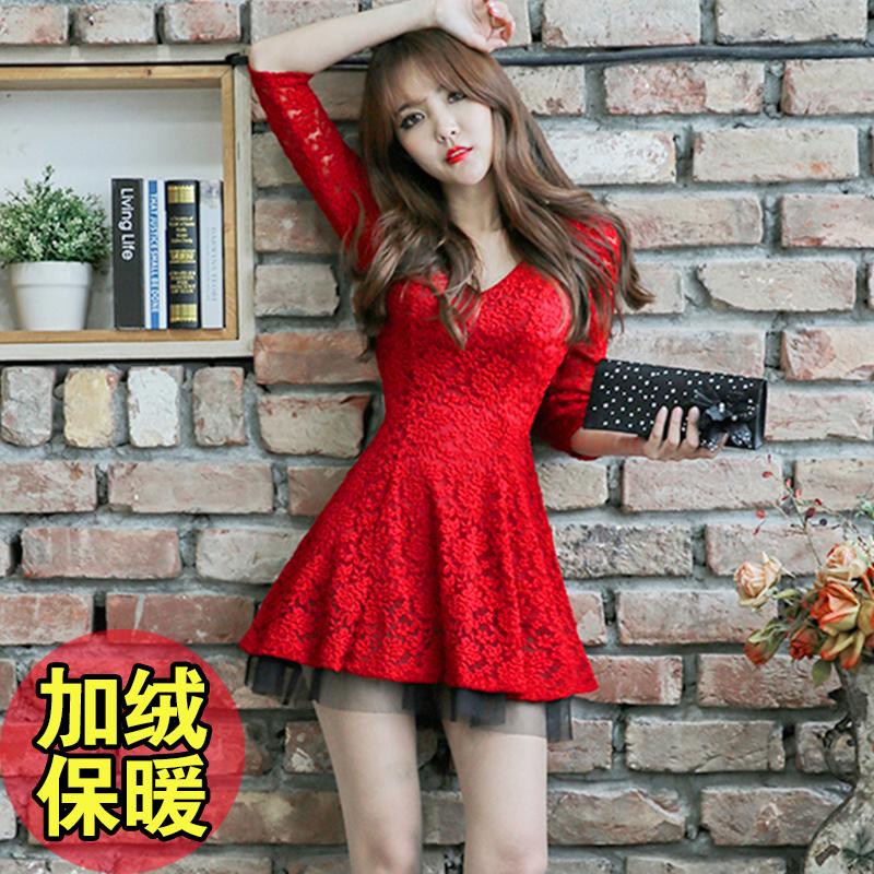 红色连衣裙 2020秋季冬性感女修身显瘦收腰气质加绒蕾丝大红色长袖连衣裙短裙_推荐淘宝好看的红色连衣裙