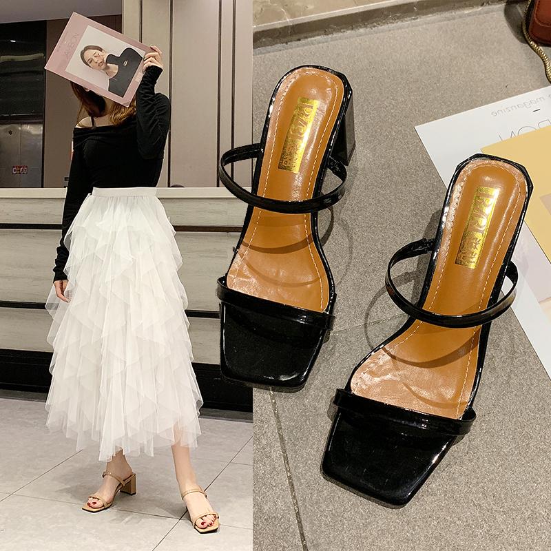 鱼嘴性感高跟鞋 高跟凉拖女2020新款露趾粗跟韩版百搭一字拖方头外穿性感罗马鞋夏_推荐淘宝好看的鱼嘴性感高跟鞋