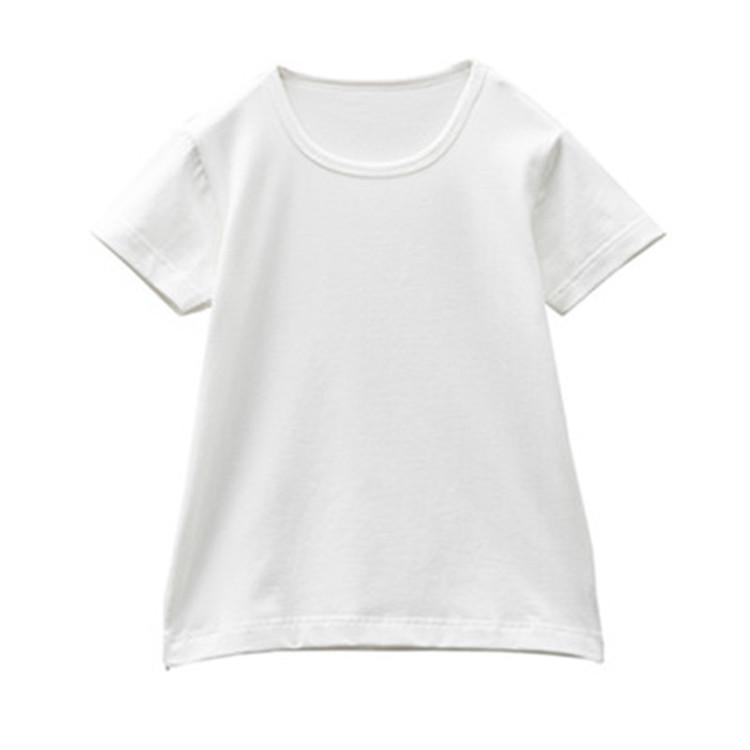 空白t恤 儿童棉质纯白色t恤男女童装短袖圆领手绘空白T恤衫彩绘上衣画画夏_推荐淘宝好看的女空白t恤