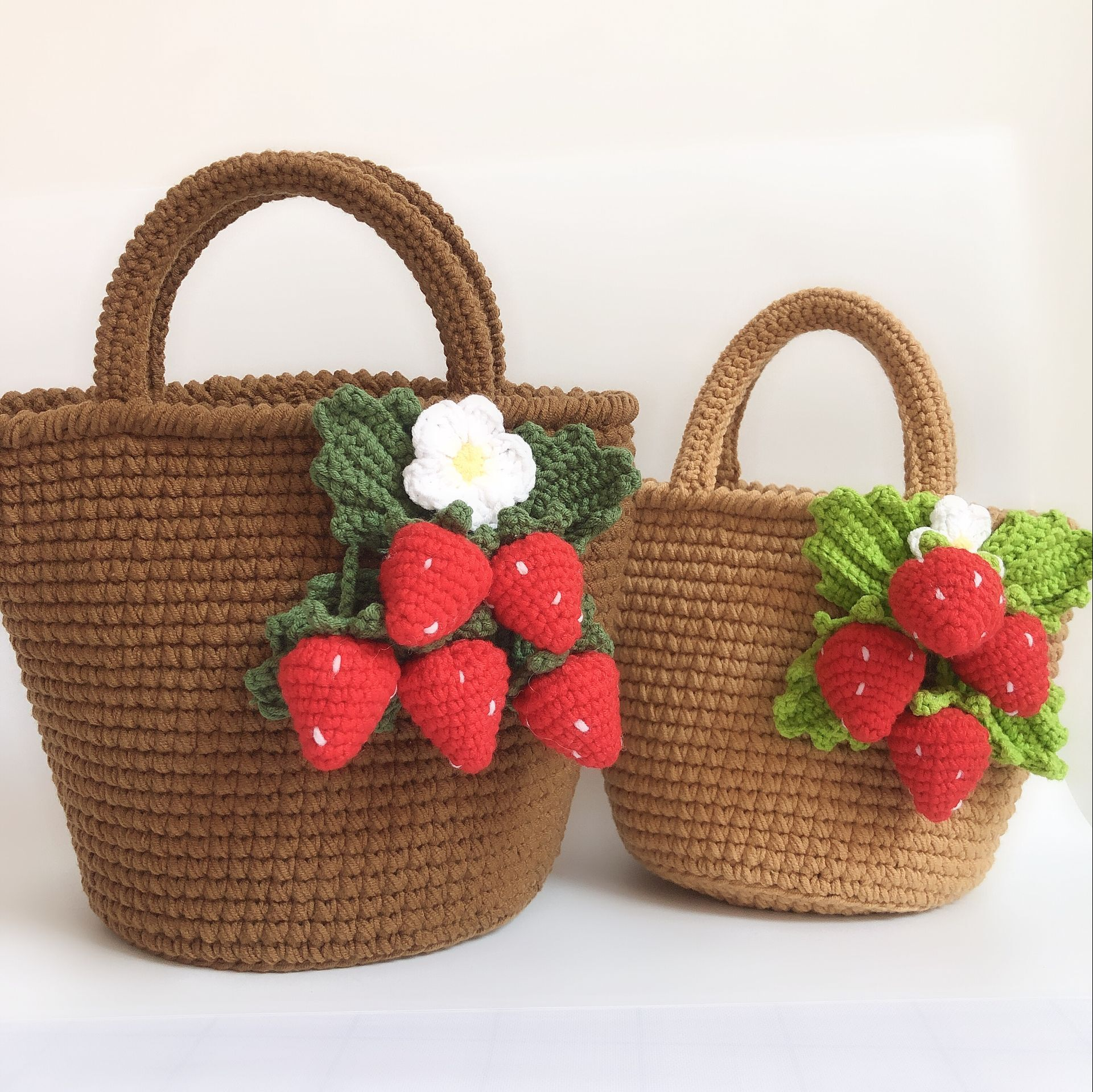 diy手提包 【不是成品】 手工毛线DIY钩针编织草莓手提包毛线材料包  莹手工_推荐淘宝好看的diy手提包
