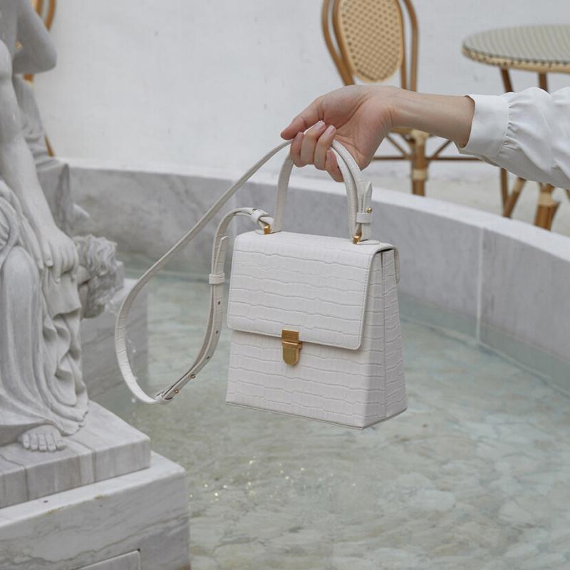 白色手提包 简约鳄鱼纹复古小众锁扣手提小方包包女2020新款潮百搭单肩斜挎包_推荐淘宝好看的白色手提包