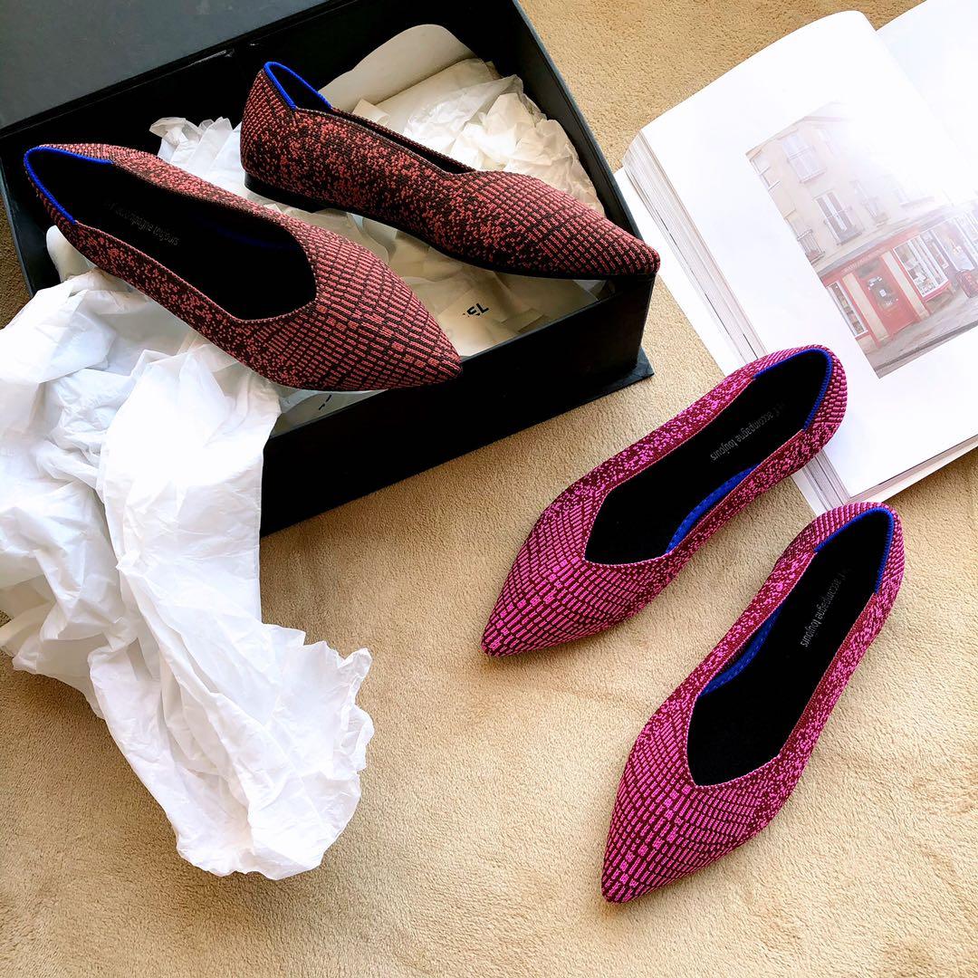 粉红色平底鞋 粉红色王妃飞线鞋2020新款编织鞋尖头平底鞋女可机洗软底芭蕾单鞋_推荐淘宝好看的粉红色平底鞋