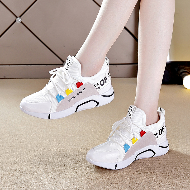 白色单鞋 内增高运动鞋春季女鞋新款百搭白色2020休闲鞋单鞋小白鞋网鞋夏季_推荐淘宝好看的白色单鞋