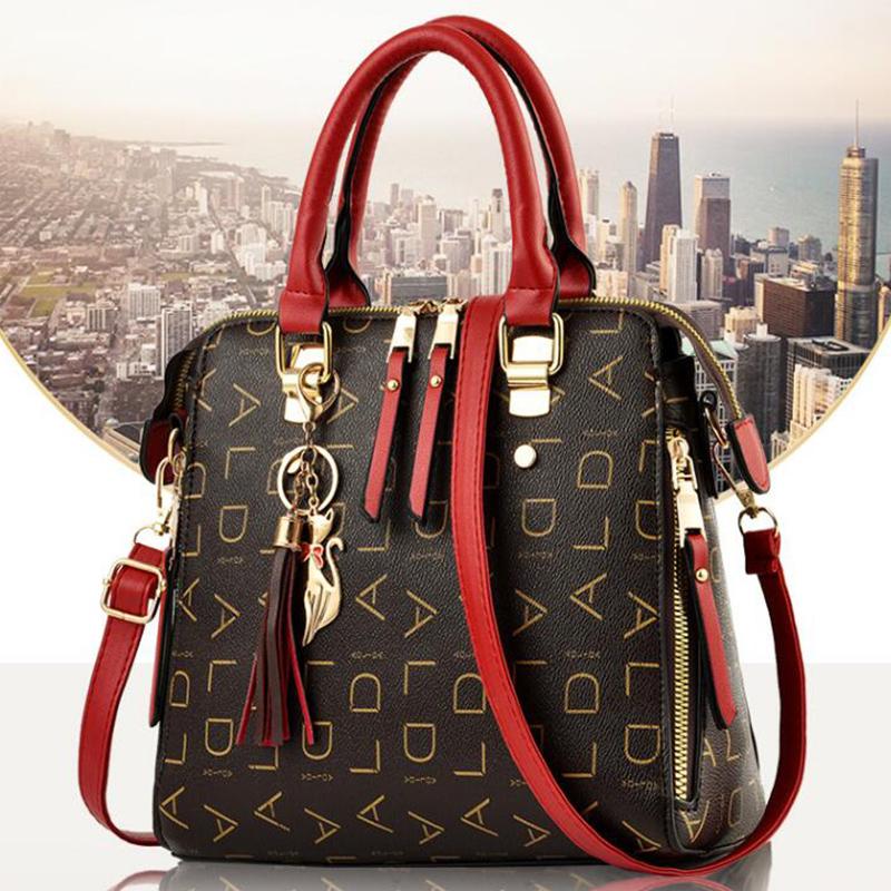 粉红色手提包 淑女芭莎女包2020新款老花包包女甜美定型时尚单肩手提包斜挎包女_推荐淘宝好看的粉红色手提包