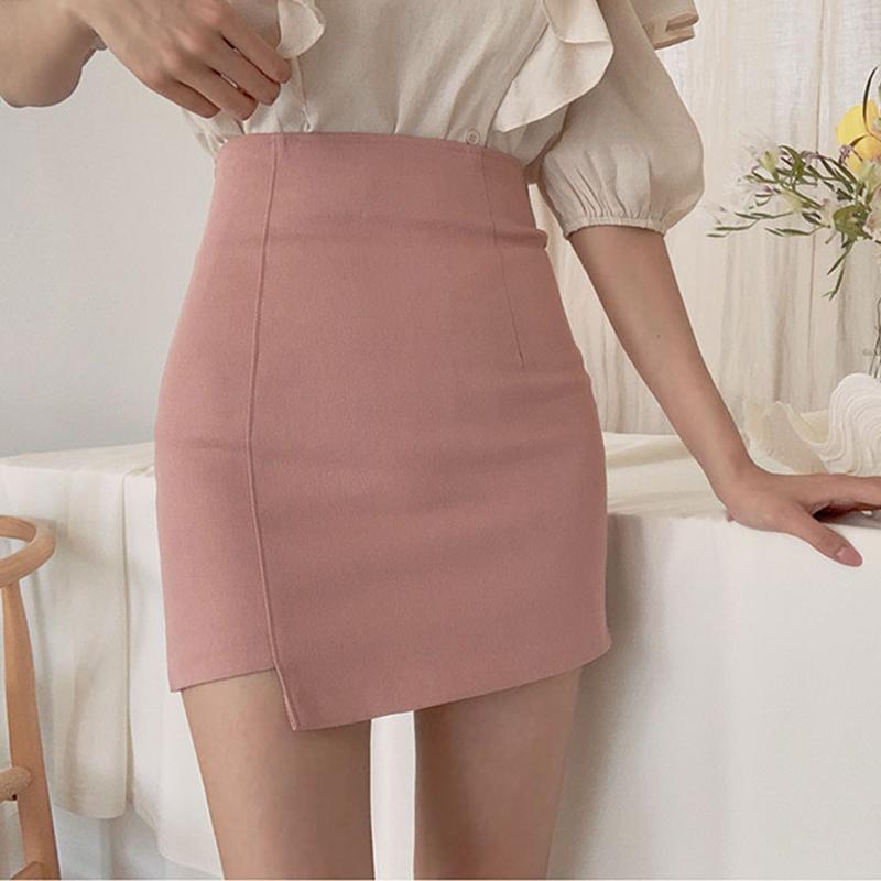 粉红色半身裙 粉红色裙子女夏2020新款高腰包臀半身裙韩版显瘦不规则短裙一步裙_推荐淘宝好看的粉红色半身裙