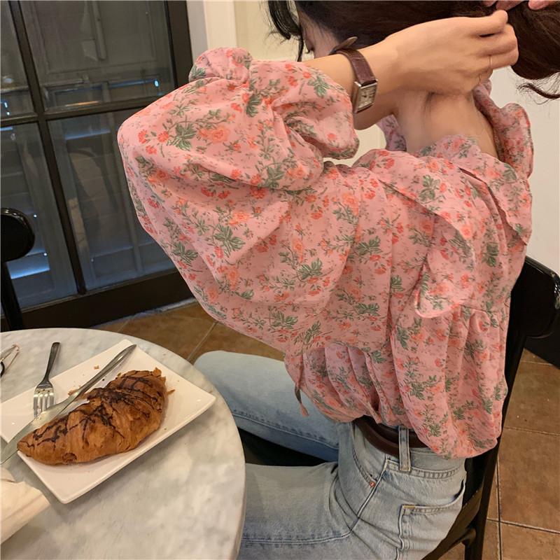 碎花衬衫 时尚韩版百搭气质流行新款女夏喇叭袖荷叶边系带雪纺碎花衬衫上衣_推荐淘宝好看的女碎花衬衫