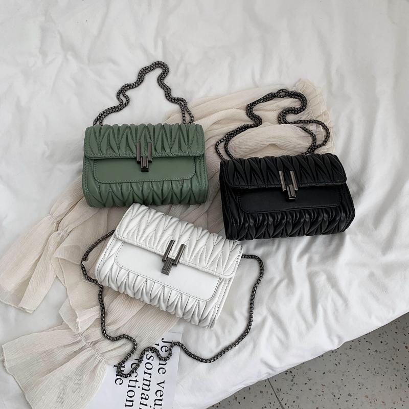 黑色链条包 高级感小包包2020新款潮时尚百搭斜挎网红洋气质感学生链条仙女包_推荐淘宝好看的黑色链条包