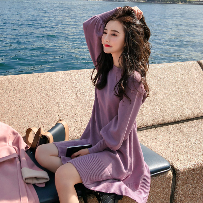 紫色连衣裙 秋装2019年新款收腰显瘦女中长款过膝针织连衣裙子冬季打底毛衣裙_推荐淘宝好看的紫色连衣裙