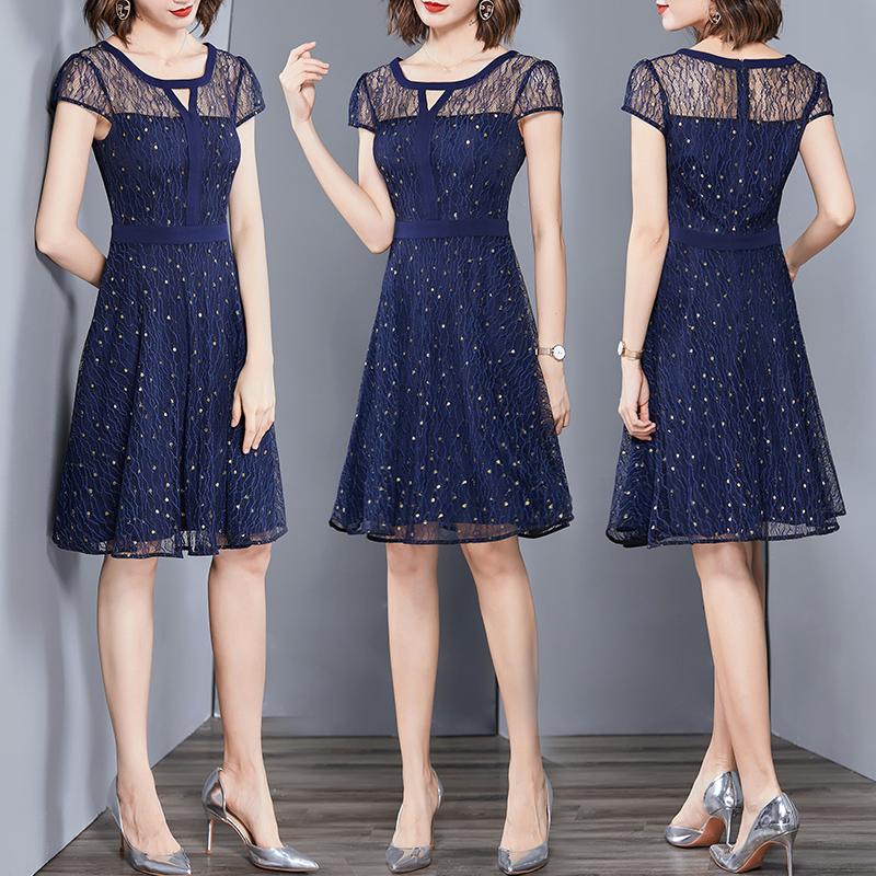 蕾丝连衣裙 经典款 贵夫人连衣裙2020年夏季新款名媛修身高贵气质小个子蕾丝裙子洋气_推荐淘宝好看的蕾丝连衣裙