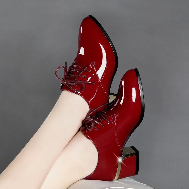 百丽单鞋 百丽 高特真皮高跟鞋粗跟红色漆皮英伦风系带舒适百搭深口女单鞋_推荐淘宝好看的百丽单鞋
