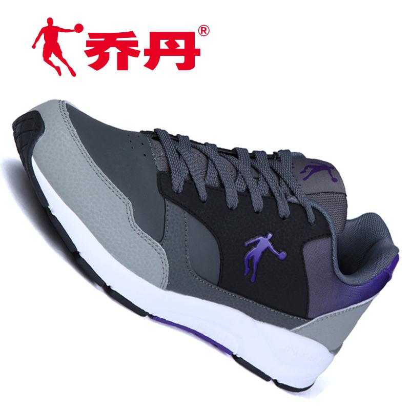 紫色运动鞋 乔丹男鞋正品皮面防水跑步鞋紫色运动鞋低调休闲鞋旅游鞋轻便波鞋_推荐淘宝好看的紫色运动鞋