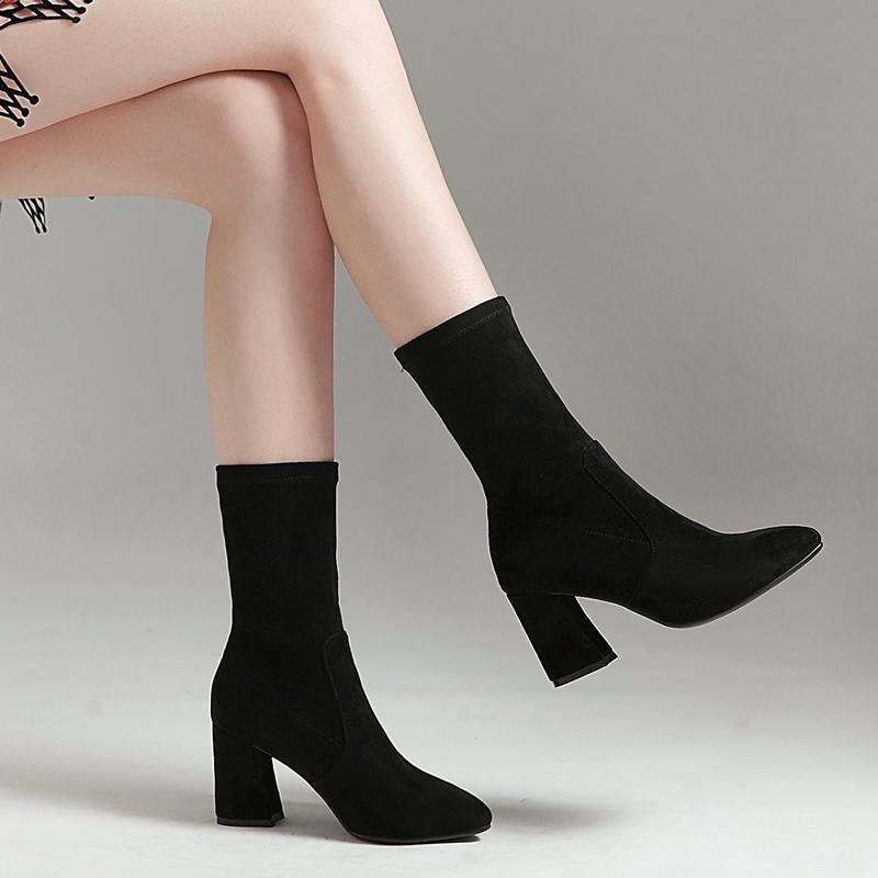 尖头短靴 秋冬款高跟弹力靴女士短筒靴子尖头显瘦休闲套筒粗跟短靴大码女靴_推荐淘宝好看的尖头短靴