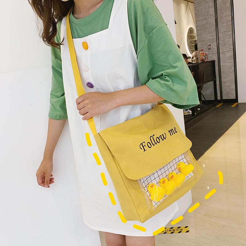 黄色斜挎包 卡通ins帆布包女 日系韩版古着感学生单肩包可爱上学包布袋斜挎包_推荐淘宝好看的黄色斜挎包