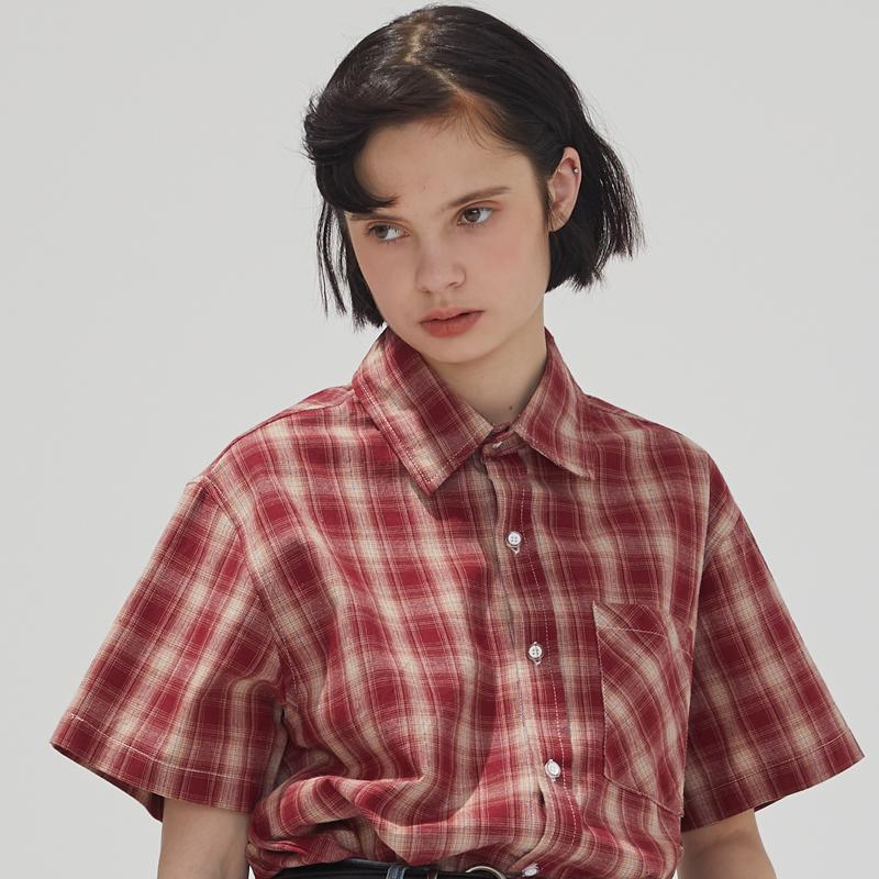 红色衬衫 square houlest 原创设计纯棉短袖衬衣红色格子衬衫女宽松学院T恤_推荐淘宝好看的红色衬衫