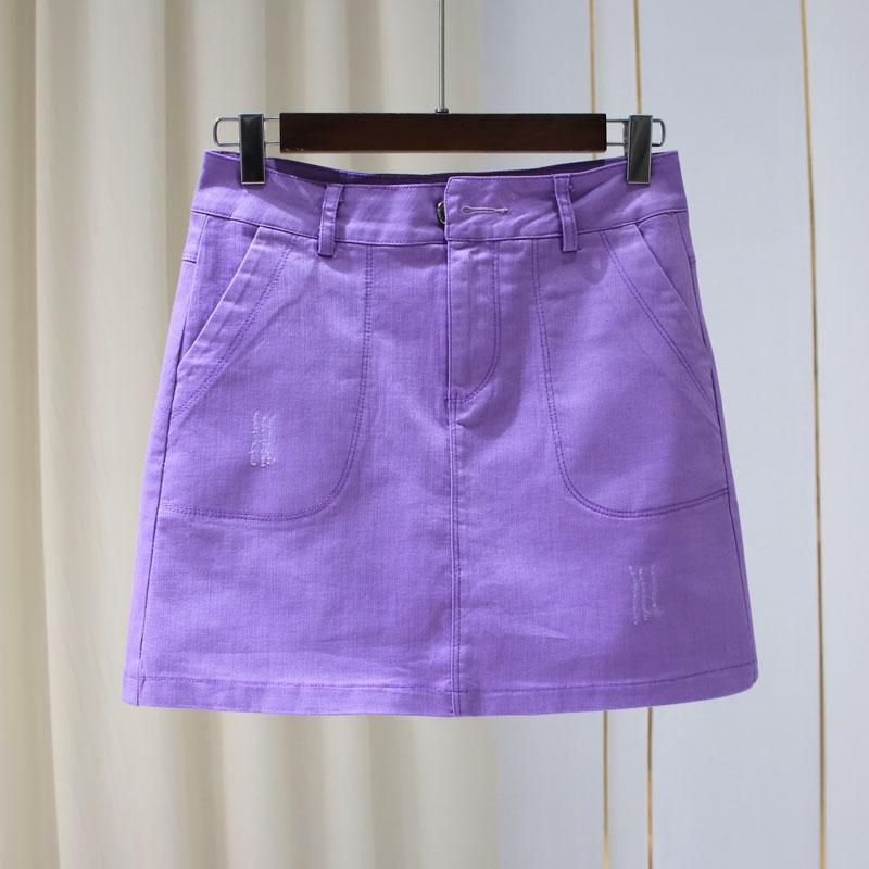 紫色半身裙 2020夏季新款高腰抓痕牛仔A字短裙女显瘦防走光半身裙弹力包臀裙_推荐淘宝好看的紫色半身裙