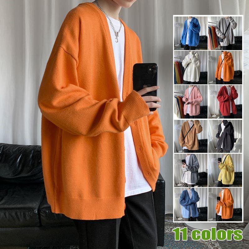 针织夹克 早春针织夹克男士新款宽松橘色慵懒纯色外套ins港风温柔毛衣上衣_推荐淘宝好看的男针织夹克