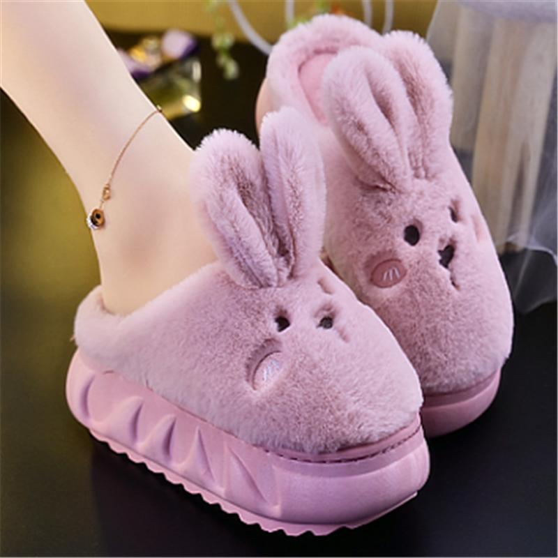 紫色坡跟鞋 冬季棉拖鞋家用保暖毛毛鞋超萌可爱紫色坡跟萌兔女高跟防滑拖鞋冬_推荐淘宝好看的紫色坡跟鞋