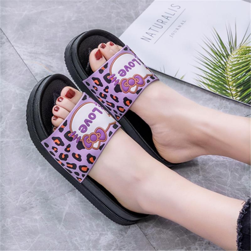 紫色松糕鞋 豹纹LOVE猫紫色女高跟增高厚底凉拖鞋外穿坡跟防滑松糕跟韩版凉拖_推荐淘宝好看的紫色松糕鞋