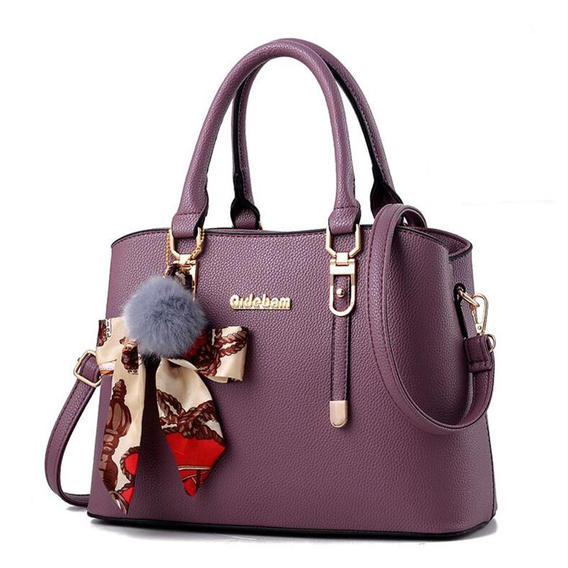 紫色单肩包 女士包包2020新款时尚大气中年女包妈妈包单肩手提包女简约潮韩版_推荐淘宝好看的紫色单肩包