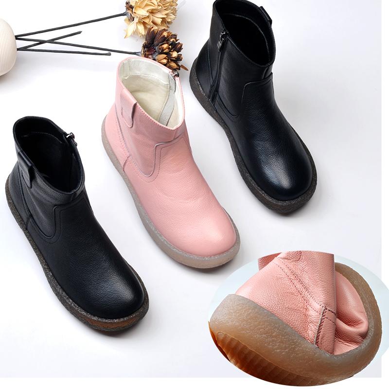 粉红色平底鞋 雪地靴女2020新款粉红色短靴短筒真皮女靴子牛筋底软底平底学生鞋_推荐淘宝好看的粉红色平底鞋