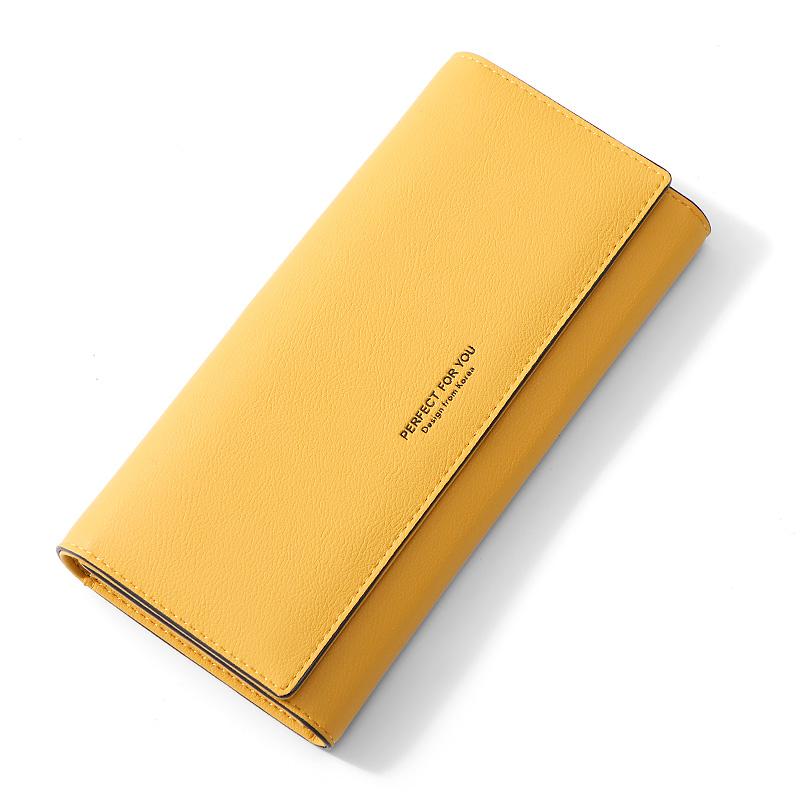 黄色手拿包 卡包黄色钱包招财百搭2021新款韩版女长款手拿包简约时尚长夹女式_推荐淘宝好看的黄色手拿包
