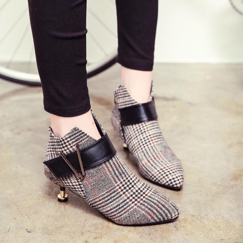 欧美款尖头鞋 2020春秋新款 欧美细跟短靴低跟尖头裸靴中跟深口女鞋小跟马丁靴_推荐淘宝好看的欧美尖头鞋