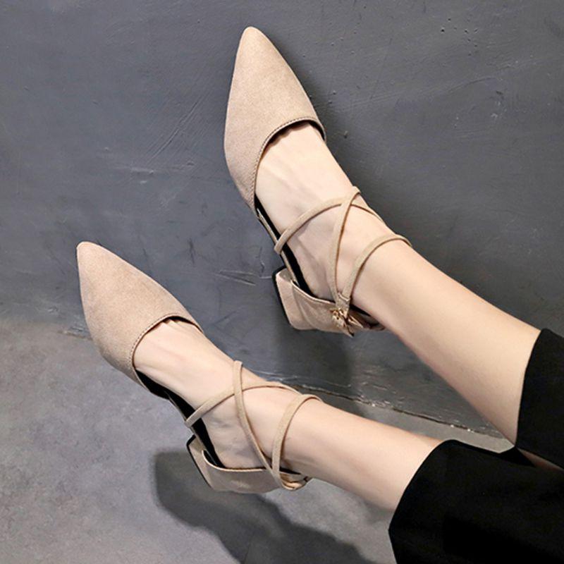 时尚平底鞋 尖头单鞋女2020春秋季新款粗跟时尚百搭韩版低跟平底矮跟浅口女鞋_推荐淘宝好看的女时尚平底鞋