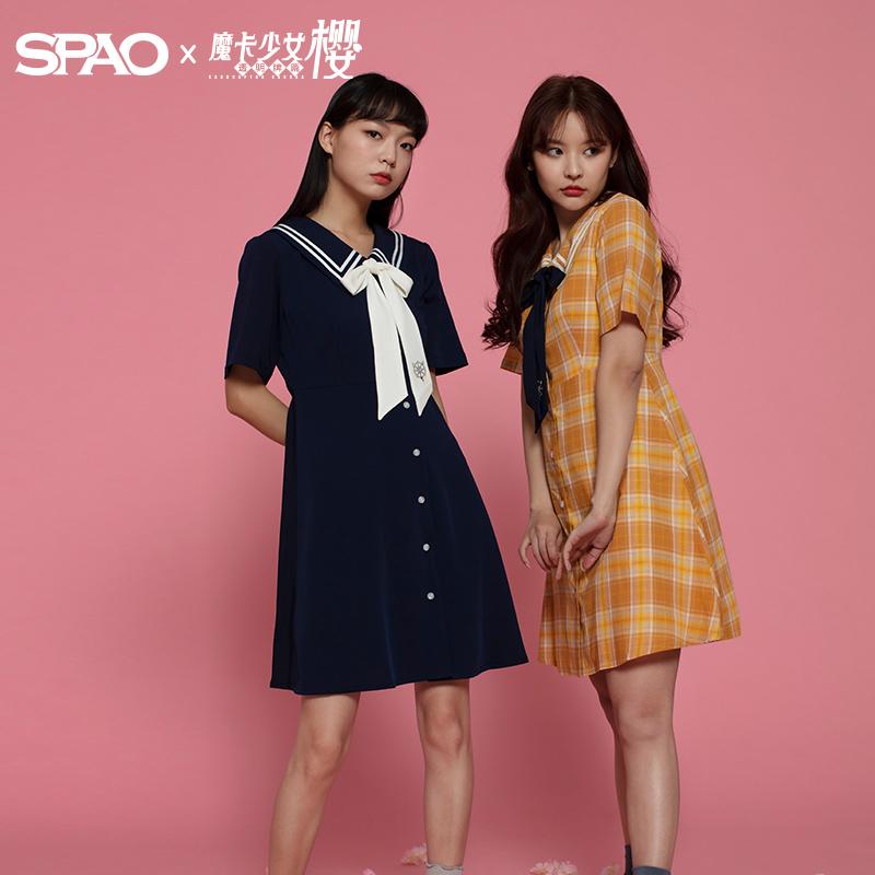 黄色连衣裙 SPAO魔卡少女小樱海军领连衣裙2020新款SPOWA23D19SPOWA36D19_推荐淘宝好看的黄色连衣裙