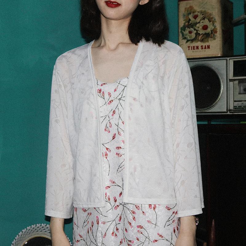法式衬衫 青知润原创 法式复古 提花开衫薄外套女通勤长袖防晒衬衫上衣_推荐淘宝好看的女法 衬衫