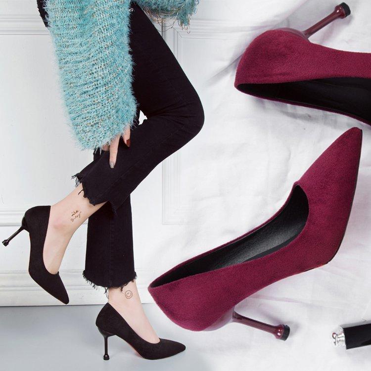 性感高跟鞋 酒红色尖头高跟鞋2019春季细跟超高跟绒面OL工作鞋浅口性感女单鞋_推荐淘宝好看的女性感高跟鞋
