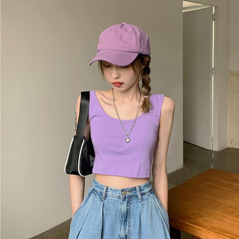 紫色背心 紫色小背心女U型美背吊带内搭打底夏外穿短款露脐性感纯棉上衣潮_推荐淘宝好看的紫色背心