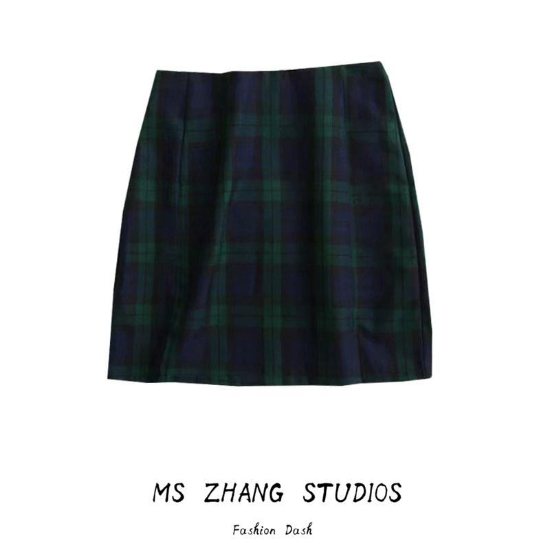 绿色半身裙 BM双开叉绿色格纹半身裙 欧美复古学院风女生包臀裙高腰拉链短裙_推荐淘宝好看的绿色半身裙