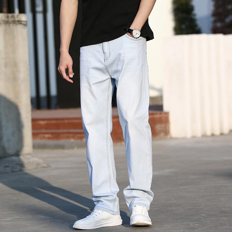 男士浅蓝色牛仔裤 夏季薄款男士浅色牛仔裤男式直筒大码弹性白色牛子裤宽松休闲长裤_推荐淘宝好看的男浅蓝色牛仔裤
