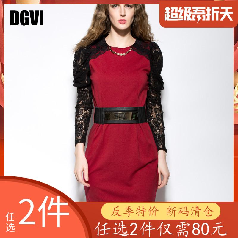 夏季长袖连衣裙 DGVI欧洲站夏季红色连衣裙女圆领长袖收腰修身显瘦蕾丝拼接中长裙_推荐淘宝好看的夏长袖连衣裙