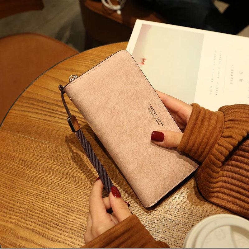 粉红色复古包 女士手拿长款零钱包2020新款多功能大容量手机包复古原宿磨砂简约_推荐淘宝好看的粉红色复古包