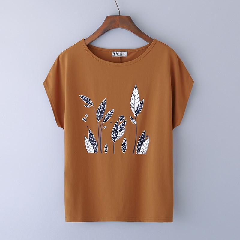 女士纯棉t恤 2019夏季新款纯棉圆领白色短袖女t恤宽松大码体桖中年妈妈上衣服_推荐淘宝好看的女纯棉t恤