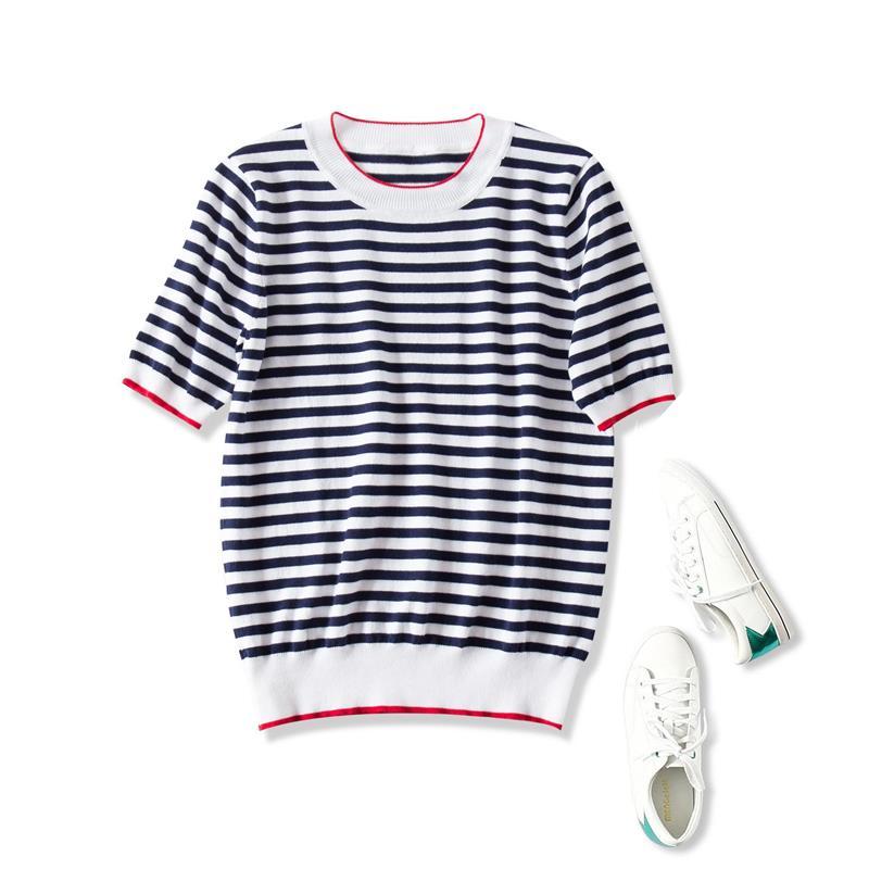 蓝白条纹t恤 19夏季新品 法式减龄!海军蓝白条纹基础百搭透气短袖针织衫T恤女_推荐淘宝好看的女蓝白条纹t恤