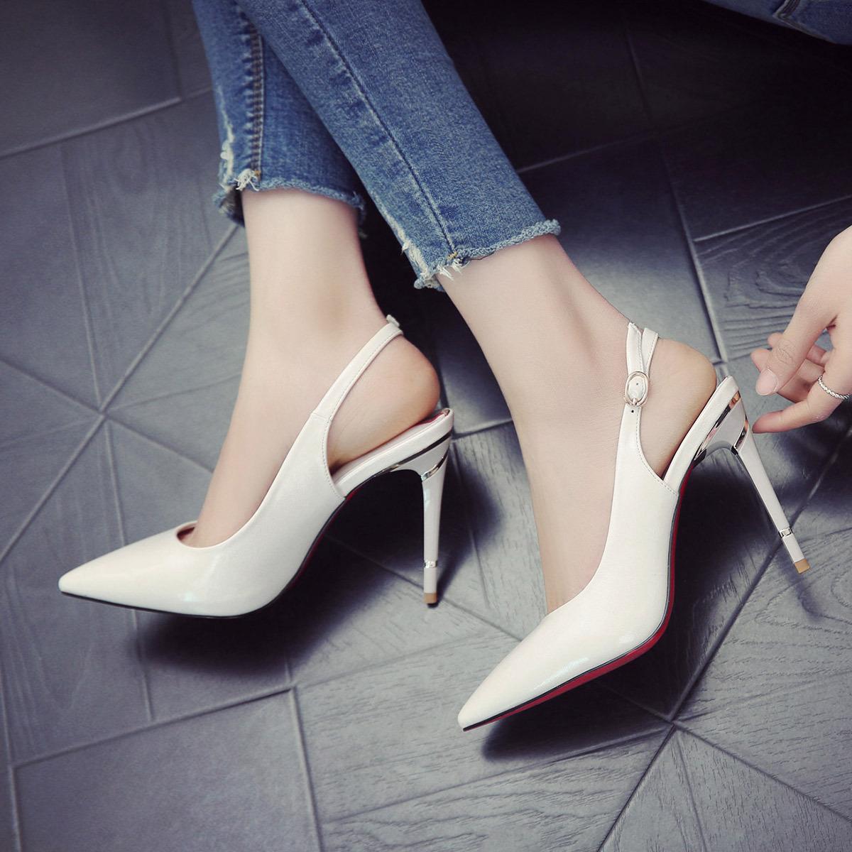 白色高跟凉鞋 新款白色高跟鞋女夏细跟2020年春秋季百搭尖头一字带凉鞋性感单鞋_推荐淘宝好看的女白色高跟凉鞋