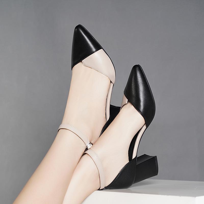 尖头鞋 18尖头凉鞋女仙女风2020新款夏季百搭ins潮粗跟包头中跟时尚女鞋_推荐淘宝好看的女尖头鞋