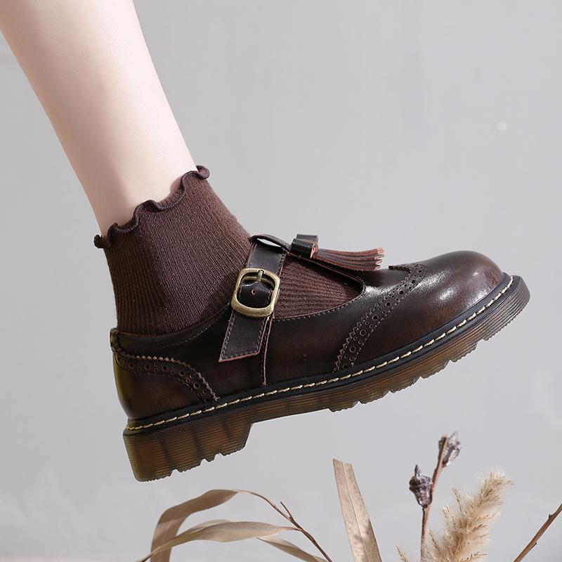 黑色平底鞋 黑色英伦风小皮鞋女平底夏复古日系软妹森女学生布洛克玛丽珍单鞋_推荐淘宝好看的黑色平底鞋